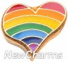 H1135 Rainbow Heart Floating Locket Charm