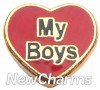 H1164 My Boys On Red Heart Floating Locket Charm