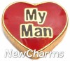 H1166 My Man On Red Heart Floating Locket Charm