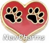 H1491 Black Paws On Big Red Heart Floating Locket Charm