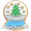 H1510 Christmas Tree Snow Globe Floating Locket Charm