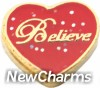 H1658R Believe Red Heart Floating Locket Charm