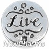 H3504 Live Silver Circle Floating Locket Charm
