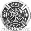 H3514 Fire Department Black Emblem Floating Locket Charm