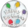 H4205 Happy Birthday Circle Floating Locket Charm