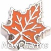 H4502 Orange Leaf Floating Locket Charm