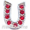 H6129 Big Horse Shoe With Red Stones Floating Locket Charm (clearance)