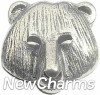 H6144 Silver Bear Face Floating Locket Charm