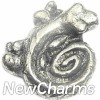 H6148 Silver Swirl Tail Gecko Floating Locket Charm