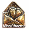 H6215 Vintage Gold Heart In Envelope Floating Locket Charm