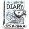 H6217 Vintage Silver Diary Floating Locket Charm