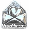 H6218 Vintage Silver Heart In Envelope Floating Locket Charm