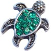 H6531 Sea Turtle With Green Stones Floating Locket Charm