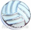 H7024 Silver Volleyball Floating Locket Charm