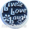 H7025 Live Love Laugh Black Floating Locket Charm