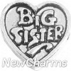 H7194 Silver Big Sister Heart Floating Locket Charm