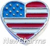 H7511 United States Flag Silver Heart Floating Locket Charm