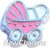 H7516 Pink Baby Stroller Floating Locket Charm