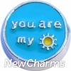 H7533 Blue You Are My Sunshine Floating Locket Charm