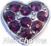 H7702 CZ Purple Heart Floating Locket Charm