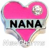 H7723 Nana Pink Heart Floating Locket Charm