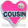 H7726 Cousin Pink Heart Floating Locket Charm