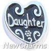H7793 Daughter on Black Floating Locket Charm