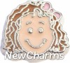 H7843 Light Brown Curly Hair Girl Floating Locket Charm
