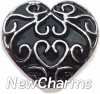 H7855 Black Vintage Heart Pattern Heart Floating Locket Charm