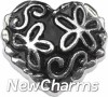 H7856 Black Floral Vintage Heart Floating Locket Charm