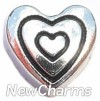 H7938 Silver Heart Inside Heart Floating Locket Charm