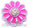 H7982 Big Hot Pink Daisy Floating Locket Charm