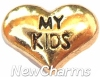 H8128 My Kids Gold Heart Floating Locket Charm