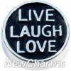 H8247 Live Laugh Love Floating Locket Charms