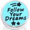 H8296 Follow Your Dreams Blue Circle Floating Locket Charm