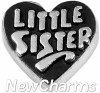 H8321 Little Sister Silver Heart Floating Locket Charm