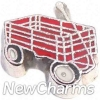 H9125 Red Wagon Silver Trim Floating Locket Charm