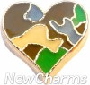 H9148 Camouflage Gold Trim Heart Floating Locket Charm