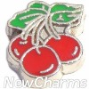 H9757 Three Red Cherries Floating Locket Charm