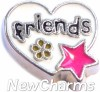 H9840 Friends Silver Trim Heart Floating Locket Charm