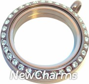 SE21 Stainless Steel Chocolate CZ Medium Round Locket