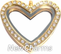 SG31  Stainless Steel Gold CZ Heart Floating Locket