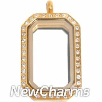 SG77 Stainless Steel Silver Medium Emerald Cut CZ Locket