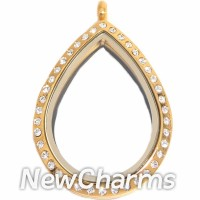 SG81 Stainless Steel Gold Teardrop CZ Floating Locket