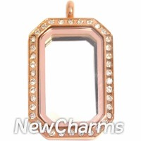 SR77 Stainless Steel Rose Gold Medium Emerald Cut CZ Locket