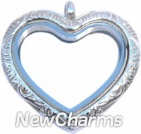 SS30  Stainless Steel Silver Heart Floating Locket