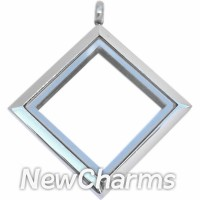 SS72 Stainless Steel Silver Diamond Floating Locket