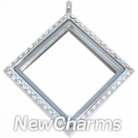 SS73 Stainless Steel Silver Diamond CZ Floating Locket