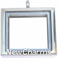 SS74 Stainless Steel Silver Square Floating Locket