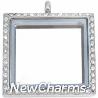 SS75 Stainless Steel Silver Square CZ Floating Locket